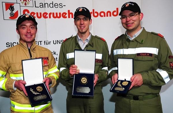 2. Daniel Winkler (Ischgl), 1. Markus Pfefferle (FF Leins-Arzl i.P) und 3. Martin Föger (Nasserreith) (v.l.n.r)