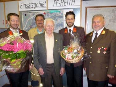 Johann Oblasser wurde für unglaubliche 70 Jahre Mitgliedschaft bei der Feuerwehr geehrt.